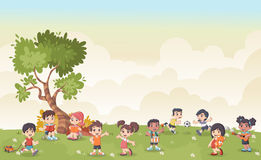 Green grass landscape with cute cartoon kids playing. Sports and recreation Stock Image