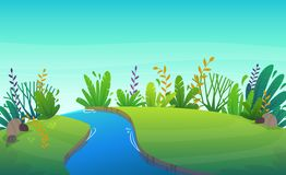 Free Green Grass Lawn River At Park Or Forest Trees And Bushes Flowers Scenery Background , Nature Lawn Ecology Peace Vector Illust Royalty Free Stock Images - 146867509