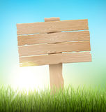Green Grass Lawn with Signpost and Sunrise on Blue Sky. Floral N. Ature Spring Background Royalty Free Stock Photo