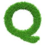 Green Grass Letter Q Stock Photo