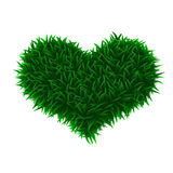 Green grass love heart Stock Photos