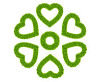 Green grass love heart frame isolated Royalty Free Stock Photo