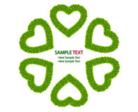 Green grass love heart frame isolated Stock Photo