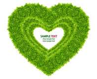 Green grass love heart frame isolated Stock Photos