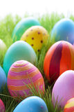Green Grass With Many Colorful Easter Eggs For Seasons Greetings Stock Image