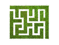 Green grass maze, isolated on white Royalty Free Stock Photo