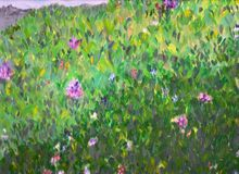 Green grass meadow with flowers. Stock Photography