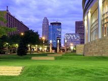 Green grass in  Minneapolis. Green grass in downtown Minneapolis at night Stock Photography