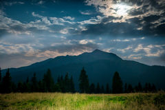 Green grass near mountain at night. Green grass on a lawn near blue mountain at night with moon light Stock Image