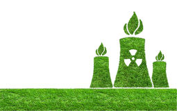Green grass Nuclear power plant icon Stock Photos