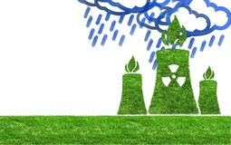 Green grass Nuclear power plant icon Stock Photography