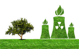 Green grass Nuclear power plant icon Royalty Free Stock Image