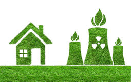 Green grass Nuclear power plant icon Stock Images