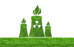 Green grass Nuclear power plant icon Royalty Free Stock Photography