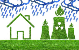 Green grass Nuclear power plant icon Royalty Free Stock Photo