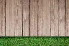 Green grass with old plank rustic wooden outdoor floor top view stock image