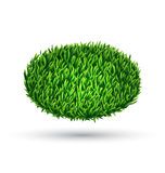 Green grass oval with shadow isolated on white Royalty Free Stock Photos