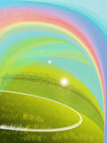 Green grass over a blue sky background a rainbow. Vector green grass over a natural blue sky background a rainbow, ideal for sport and leisure designs Royalty Free Illustration