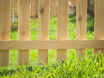 Green grass over wood fence background. Fresh spring green grass over wood fence background Royalty Free Stock Image