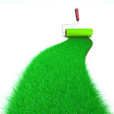 Green Grass Painting. 3d image of a brush painting a wall with green grass Stock Image