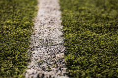 Green grass pattern for football sport, Football field, soccer field, team sport texture. White stripe on it. Close up. Focus. Macro photo Royalty Free Stock Photography