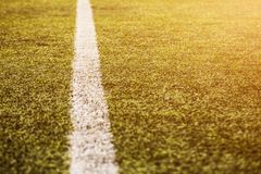 Green grass pattern for football sport, Football field, soccer field, team sport texture. White stripe on it. Close up. Focus. Flare sunlight flare for text and Stock Photography
