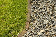 Green Grass and Pebbles background. In the home garden Royalty Free Stock Images