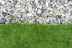 Green grass with Pebbles, Stone and grass in garden, grass with rock, Pebble with Grass Royalty Free Stock Images