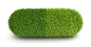 Green grass pill capsule Royalty Free Stock Images