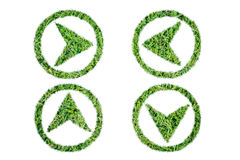 Green grass play icon and arrow. On over white background Stock Image