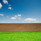 Green grass and plowed fields under blue sky. Green grass and black plowed fields under blue sky Stock Image