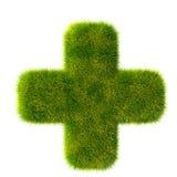 Green grass plus signs Stock Photos