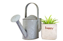 Green grass in pot  and watering can Stock Photography