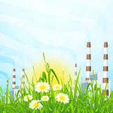 Green Grass with Power Plant Stock Photo