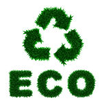 Green grass recycle icon and eco inscription isola Royalty Free Stock Photography