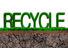 Green grass in RECYCLE word shape. On cross section of grass and dry cracked soil texture, isolated on white background royalty free illustration