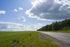 Green grass, road and blue sky Royalty Free Stock Images