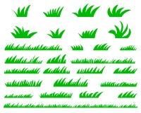 Green Grass Set,  On White Background Stock Photos