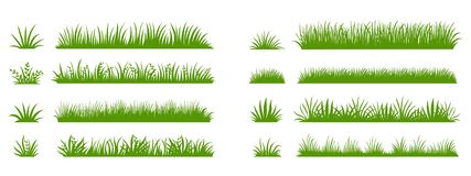 Free Green Grass Silhouette. Cartoon Lines Of Plants And Shrubs For Boarding And Framing, Eco And Organic Logo Element Royalty Free Stock Images - 164142949