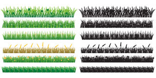 6 Green Grass And Silhouette, Isolated On White Background. Royalty Free Stock Photography