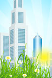Green Grass with Skyscrapers Royalty Free Stock Photography