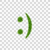 Green grass smile 3D. Smiley grassy icon Isolated white transparent background. Ecology concept. Happy smiling sign. Symbol eco lawn, nature, safe environment vector illustration