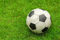 Green grass soccer field with ball Royalty Free Stock Images