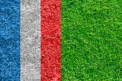 Green grass soccer field with flag of France Royalty Free Stock Photography