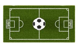 Green grass soccer field and football ball on the field background. Football stadium game 3d object area. Soccer Ball Stock Photography