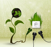 Green grass and socket plug Royalty Free Stock Photo