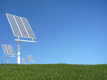 Green grass with solar panel Stock Image