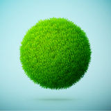 Green grass sphere on a blue clear background Stock Photo