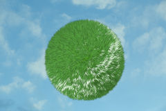 Green grass sphere in the sky Stock Image