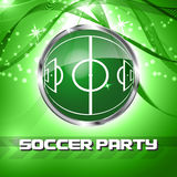 Green grass sphere with soccer field. On a festive background. Design for football or soccer championship, soccer party. Vector illustration Royalty Free Stock Photo